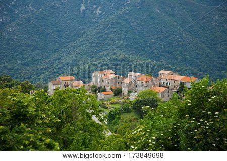 view over sainte lucie de tallano in corsica
