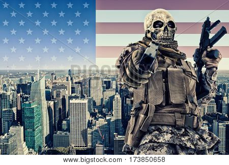 Terrorist with New York city in background.