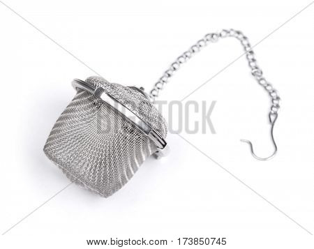 Silver percolator isolated on white background