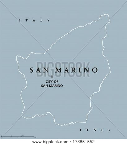 Most Serene Republic of San Marino political map with capital City of San Marino. Enclaved microstate surrounded by Italy. Gray illustration with English labeling, isolated on white background. Vector