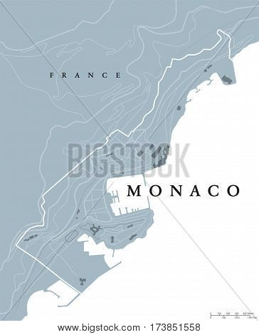 Monaco political map. Principality, sovereign city- and microstate on French Riviera in Western Europe bordering on France. Gray illustration, English labeling, isolated on white background. Vector.