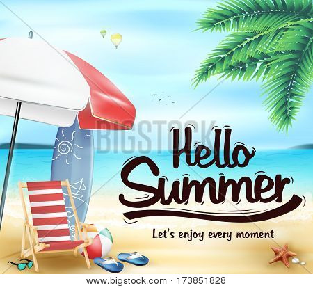 Hello Summer in the Beach Resort with Chair and Beach Umbrella Vector Illustration