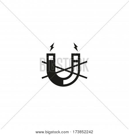 Attention no magnet symbol isolated on white background vector illustration. Magnetism, magnetize, attraction sign. International standard black packaging pictogram