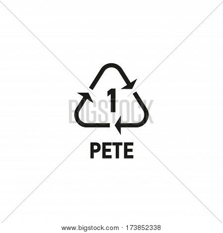 Packaging symbol isolated on white background vector illustration. Recycling symbol showing packaging materials made from polyethylene terephthalate. PETE 1 sign