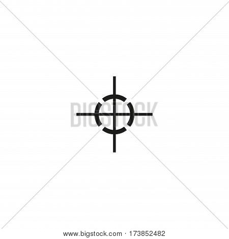 Center of gravity symbol isolated on white background vector illustration. Indication position of center gravity cargo. International standard black shipping pictogram.