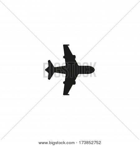 Air shipping symbol isolated on white background vector illustration. Air transportation cargo label with plane. International standard black shipping pictogram