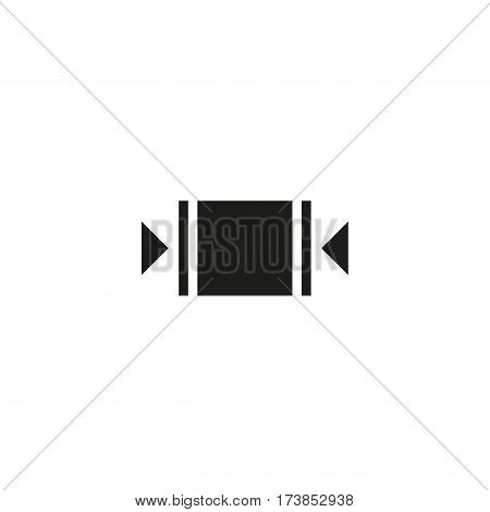 Clamp here symbol isolated on white background vector illustration. Clamps must be applied to sides indicated to handle package. International standard black shipping pictogram