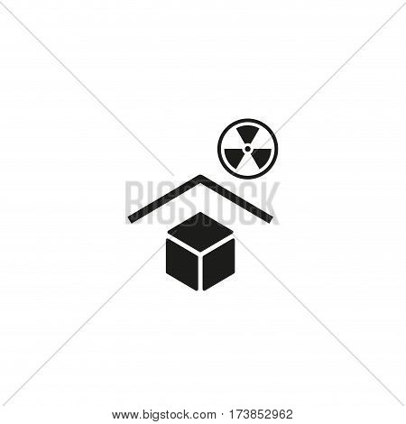 Keep away from radioactive sources symbol isolated on white background vector illustration. Radioactive protection cargo sign. International standard black packaging pictogram