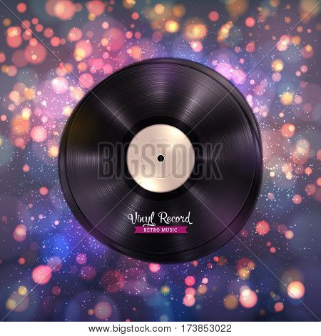 Realistic long-playing LP vinyl record. Gramophone records on colorful blurred background with light effects, bokeh, shiny and glitter particles. Disco, party or club billboard, dance or music poster