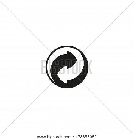 Green dot symbol isolated on white background vector illustration. Recovery and recycling of materials used sign. International standard black packaging pictogram.