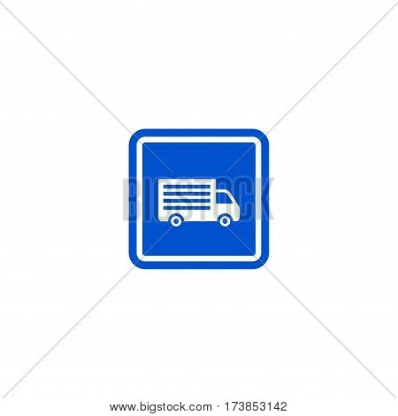 Truck parking zone roadsign isolated on white background vector illustration. Car parking regulation symbol, traffic sign, road information and help, roadway auto service icon