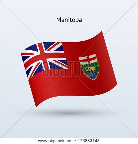Canadian province of Manitoba flag waving form on gray background. Vector illustration.