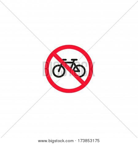 No bicycle roadsign isolated on white background vector illustration. Parking regulation symbol, traffic sign, road information and help, roadway auto service icon