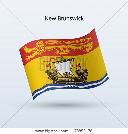 Canadian province of New Brunswick flag waving form on gray background. Vector illustration.