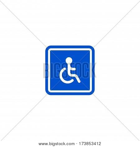 Only disabled person parking roadsign isolated on white background vector illustration. Wheelchair handicap icon, car parking regulation symbol, traffic sign, road information and help