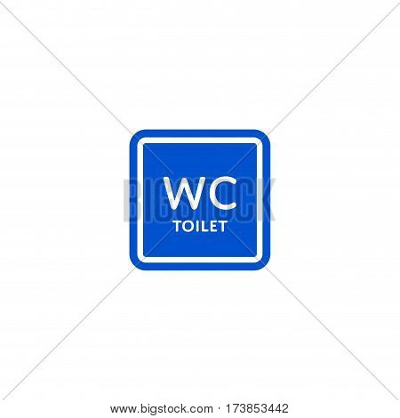 WC toilet roadsign isolated on white background vector illustration. Car parking regulation symbol, traffic sign, road information and help, roadway auto service icon
