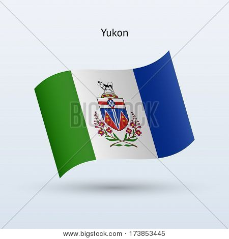 Canadian territory of Yukon flag waving form on gray background. Vector illustration.