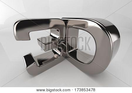 chromium 3d logo on a white background. 3D rendering