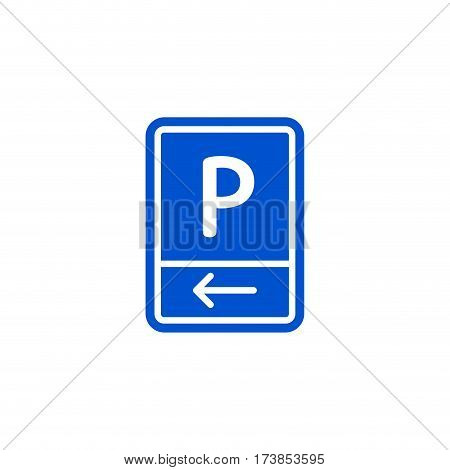 Parking zone to left roadsign isolated on white background vector illustration. Car parking regulation symbol, traffic sign, road information and help, roadway auto service icon