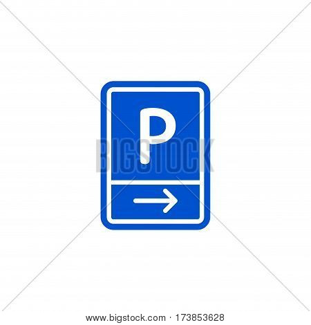 Parking zone to right roadsign isolated on white background vector illustration. Car parking regulation symbol, traffic sign, road information and help, roadway auto service icon