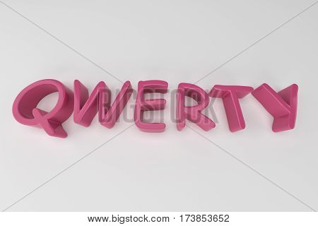 qwerty pink  logo 3d text. 3D rendering