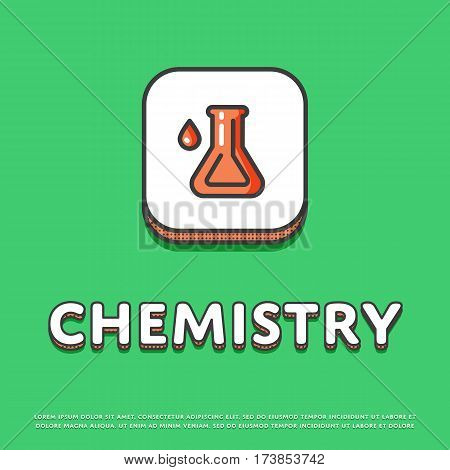 Chemistry colour square icon isolated vector illustration. Chemical glass test tube symbol. Science lab, scientific research equipment, school subject logo or sign in line design.