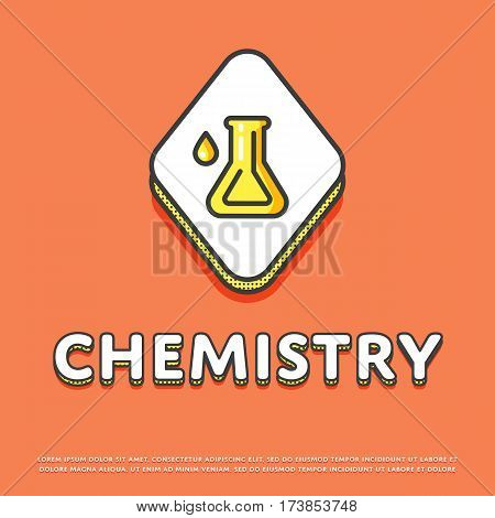 Chemistry colour rhomb icon isolated vector illustration. Chemical glass test tube symbol. Science lab, scientific research equipment, school subject logo or sign in line design.
