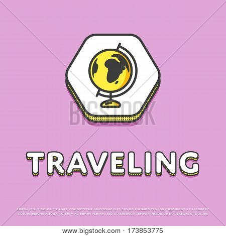 Traveling colour hexagonal icon isolated vector illustration. Globe, world map, earth or planet symbol. Worldwide traveling and tourism, globe geography logo or sign in line design.