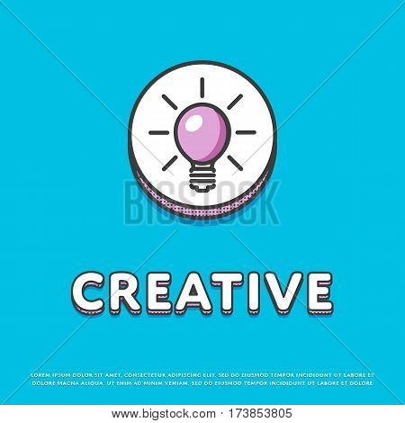 Creative colour round icon isolated vector illustration. Light bulb, lamp, idea symbol. Big creative idea inspiration innovation, invention, effective thinking logo or sign in line design.
