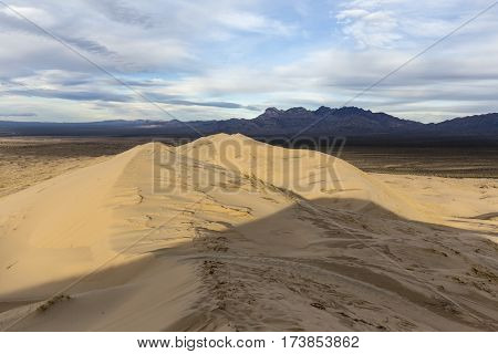 View from top of Kelso Sand Dunes wilderness area at the Mojave National Preserve in Southern California.