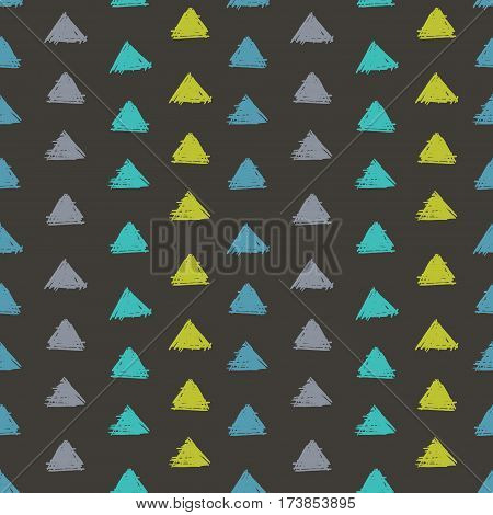 Vector Abstract Hand Drawn Grey, Green, Blue Ink Geometric Arrows Triangles Pattern With Fun Circles. Great for vintage fabric, cards, invitations, clothing, packaging, scrapbooking, wallpaper. Textile design.