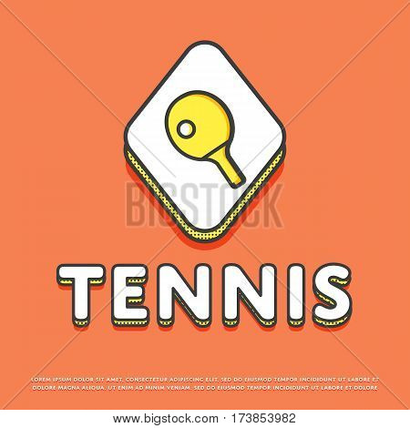Tennis colour rhomb icon isolated vector illustration. Ping pong paddle with ball, tennis racket symbol. Athletic equipment, sport activity and recreation logo or sign in line design.