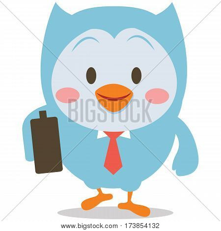 Owl with bag character vector collection stock