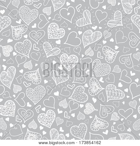 Vector Silver Grey Doodle Hearts Seamless Pattern Design Perfect for Valentine s Day cards, fabric, scrapbooking, wallpaper. Textile design.