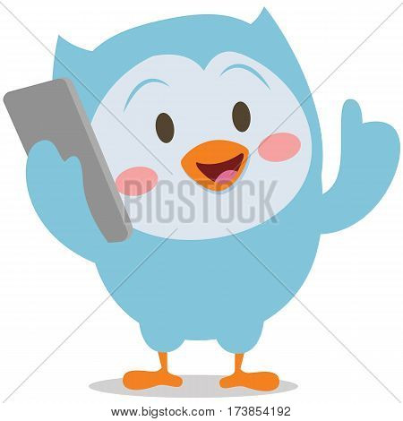 Character owl with phone mascot vector art