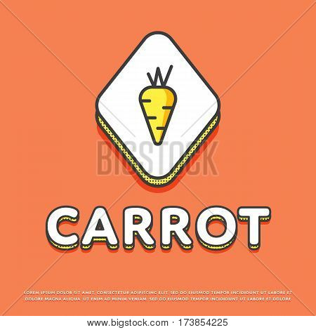 Carrot colour rhomb icon isolated vector illustration. Fresh carrot vegetable symbol. Organic eco healthy vegetable, vegan food logo or sign in line design.