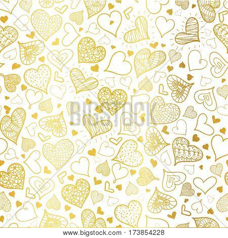 Vector Golden Doodle Hearts Seamless Pattern Design Perfect for Valentine s Day cards, fabric, scrapbooking, wallpaper. Textile design.