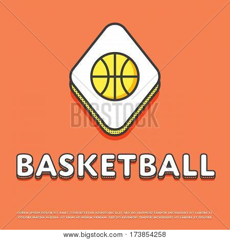 Basketball colour rhomb icon isolated vector illustration. Basketball ball symbol. Athletic equipment, basketball team, sport activity and recreation game logo or sign in line design.