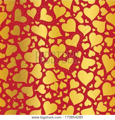 Vector Golden Red Hearts Seamless Pattern Design Perfect for Valentine s Day cards, fabric, scrapbooking, wallpaper. Textile design.
