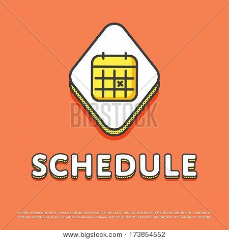 Schedule colour rhomb icon isolated vector illustration. Calendar with notes symbol. Date and time concept, time management, business planning, life scheduling logo or sign in line design.