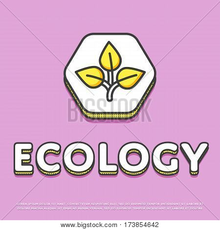 Ecology colour hexagonal icon isolated vector illustration. Leaves nature ecological symbol. Eco friendly concept, green recycling, environment protection logo or sign in line design.
