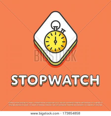 Stopwatch colour rhomb icon isolated vector illustration. Sport watch timer, stopwatch symbol. Athletic competition, sport equipment, time management logo or sign in line design.