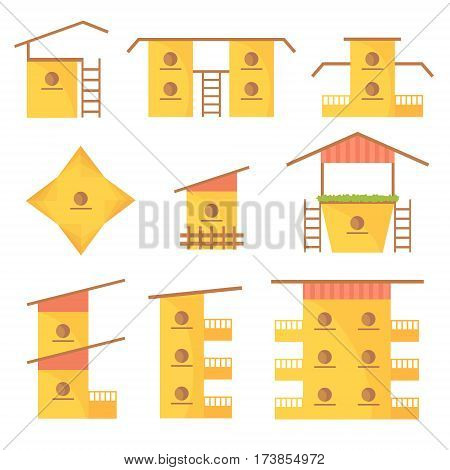 A variety of colorful homes for birds large and small with stairs multistory. Rectangular low and high birdhouses with hollows for small birds living.