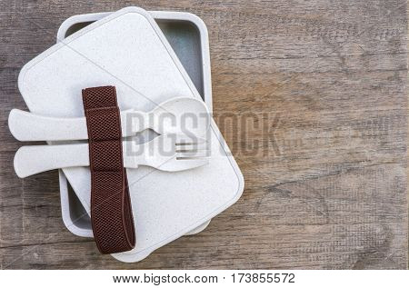 Set of non toxin food container on wooden tabletop view