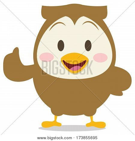Happy brown owl character vector collection stock