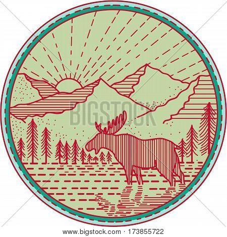 Mono line Illustration of a moose viewed from the side with river mountain and sun burst in the background set inside circle done in retro style.