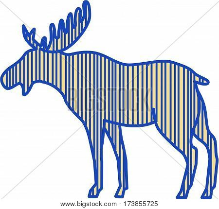 Drawing sketch style illustration of a moose (North America) or elk (Eurasia) Alces alces the largest extant species in the deer family viewed from the side set on isolated white background.