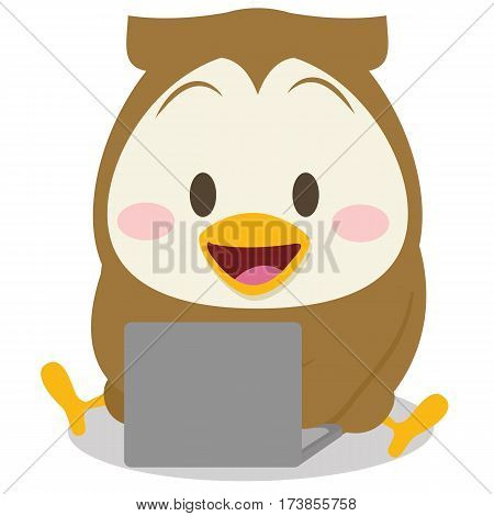 Owl with laptop character collection stock vector illustration