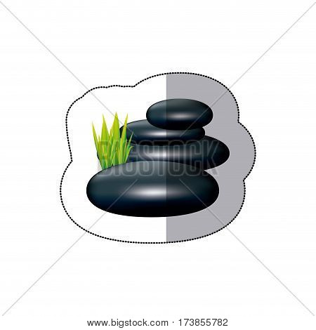 colorful spa volcanic rocks with grass icon, vector illustraction design