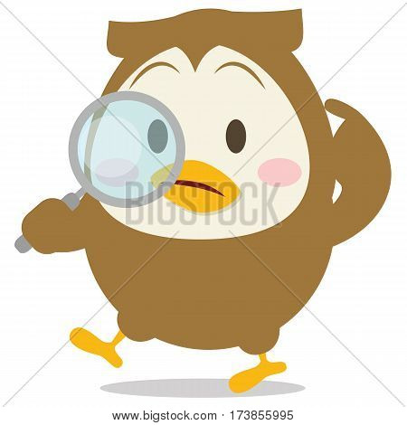 Detective owl character vector illustration collection stock